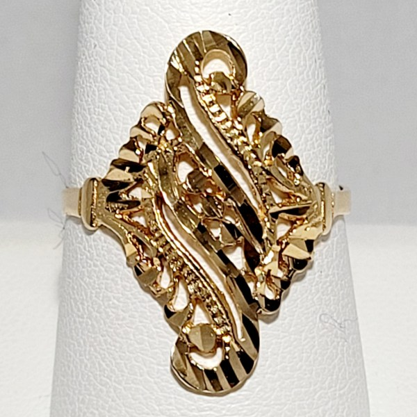14k Yellow Gold Ladies Filigree RIng
