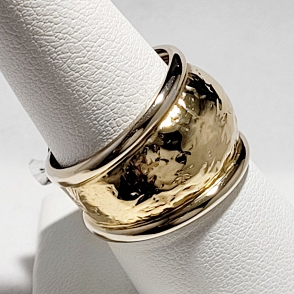 14k Yellow and White Gold 15mm Wide Hammer finish Ladies Band