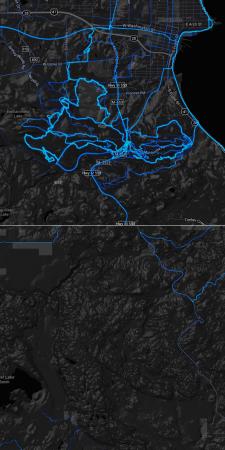 MQT South Trails vs Crusher route Strava Heatmaps