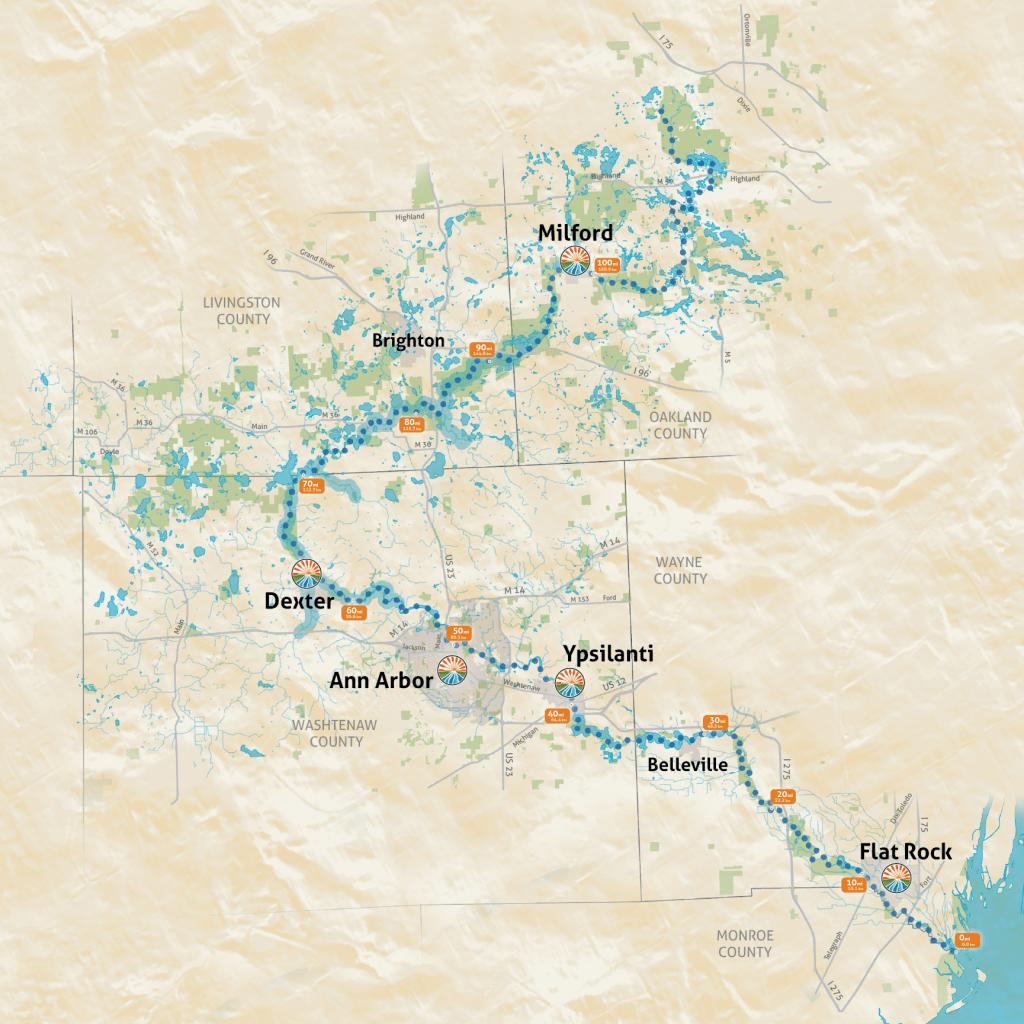 Mi River Huron Map Fishing