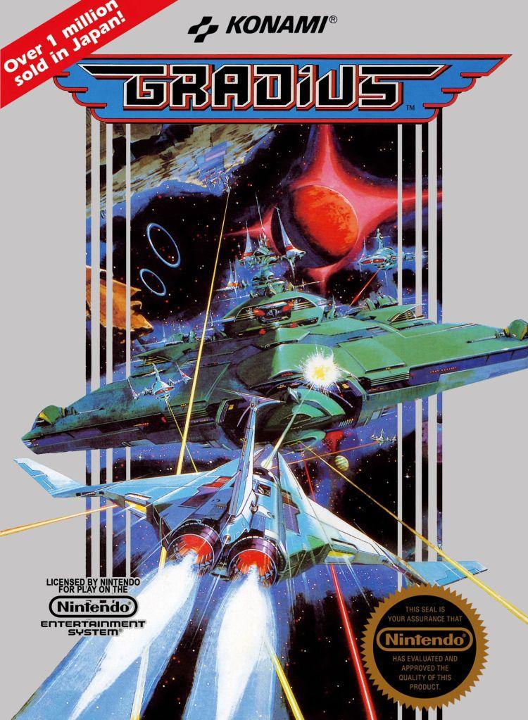 illustration Gradius NES game cover art