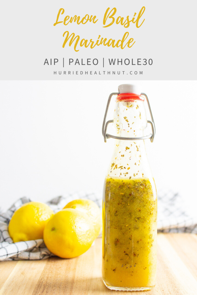 This easy Lemon Basil Marinade is made with pantry staples and is AIP, paleo and Whole30-friendly! Whip it up in under two minutes and use it to marinate chicken, seafood or vegetables. #chickenmarinade #lemon #basil #grilling #aip #paleo #whole30
