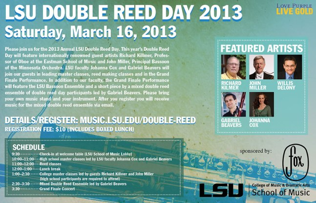 LSU double reed day 2013 flier