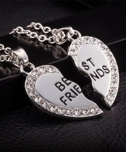 2 Friendship BFF - Best Friends Necklace Silver Colour