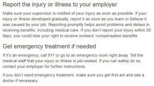 California Department of Industrial Relations job injury information