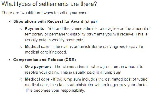 California workers' comp. Types of settlements.