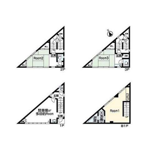 もはや見飽きてきた三角間取りですが、これは考えさせられました。とにかくやたらと玄関が多い!どういう使い方をしてたらこういう間取りになるのだろうか?家庭内別居夫婦かなぁ地下に住んで、上は風呂なしアパート?シェアハウスにしては田舎だから需要ないだろうし…#間取り図鑑定士 #今日の一枚 #間取りマニア#間取り#間取り図 #間取り萌え #三角#家庭内#別居