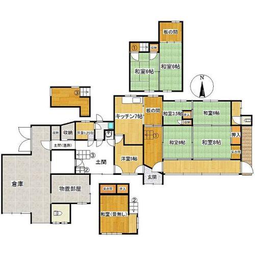 複雑で好きな感じ。倉庫が広いし土間もあるでも疑問が… ・③の部屋って必要?・1.25帖の洋室って必要?・それが1.25帖ってことは浴槽は…劇狭〜(笑)#間取り図 #間取り狂 #間取り萌え #間取り図鑑定士 #間取り#間取り図初段 #間取り図好き