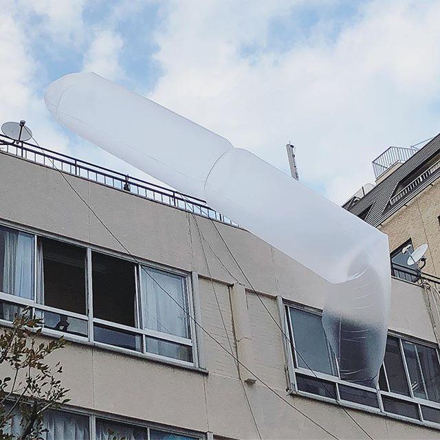 窓からこんなの出てたんですけど…何だろう?どなたかご存知ですか〜? #目的不明#誰か教えて#巨大な#緩衝材#的な#ビニールの#目的#知りたい