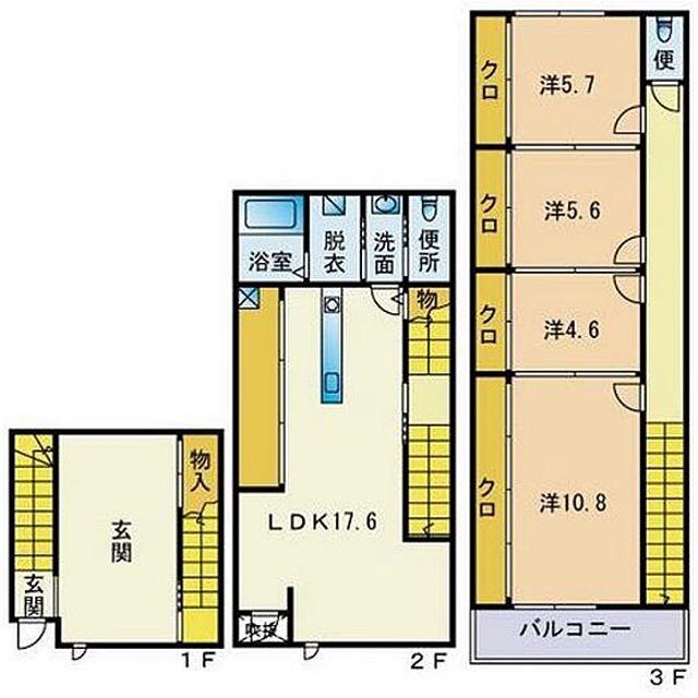 この玄関。。。どうやって使うのでしょう?#3階の#部屋割り#不思議#な#不揃い#間取り図