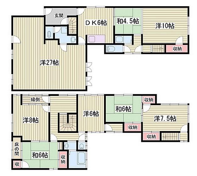 今日のも27帖。実はよくあるサイズなのかな?#昨日のと比べて#だいぶ#でかい#この家#2階にも#DK欲しい#不思議な#区切りかた#間取り図