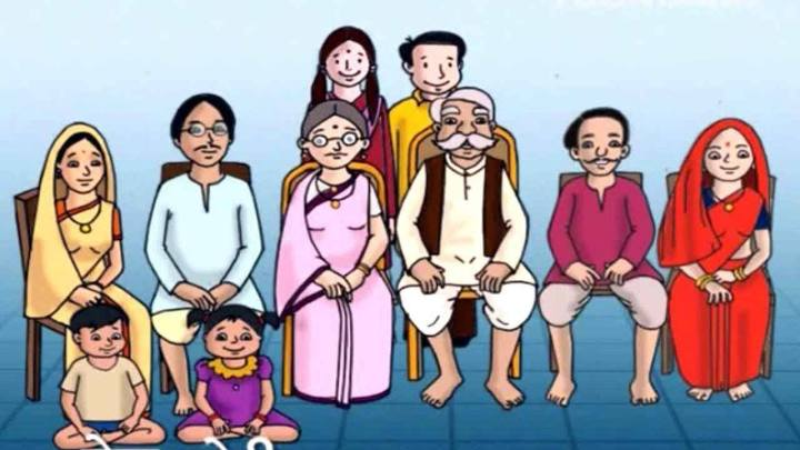 Traditional Indian joint family drawing