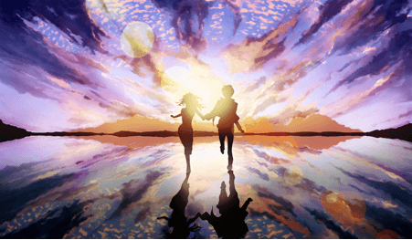 Couple holding hands painted