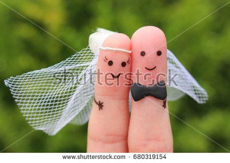 photo finger art of happy marriage