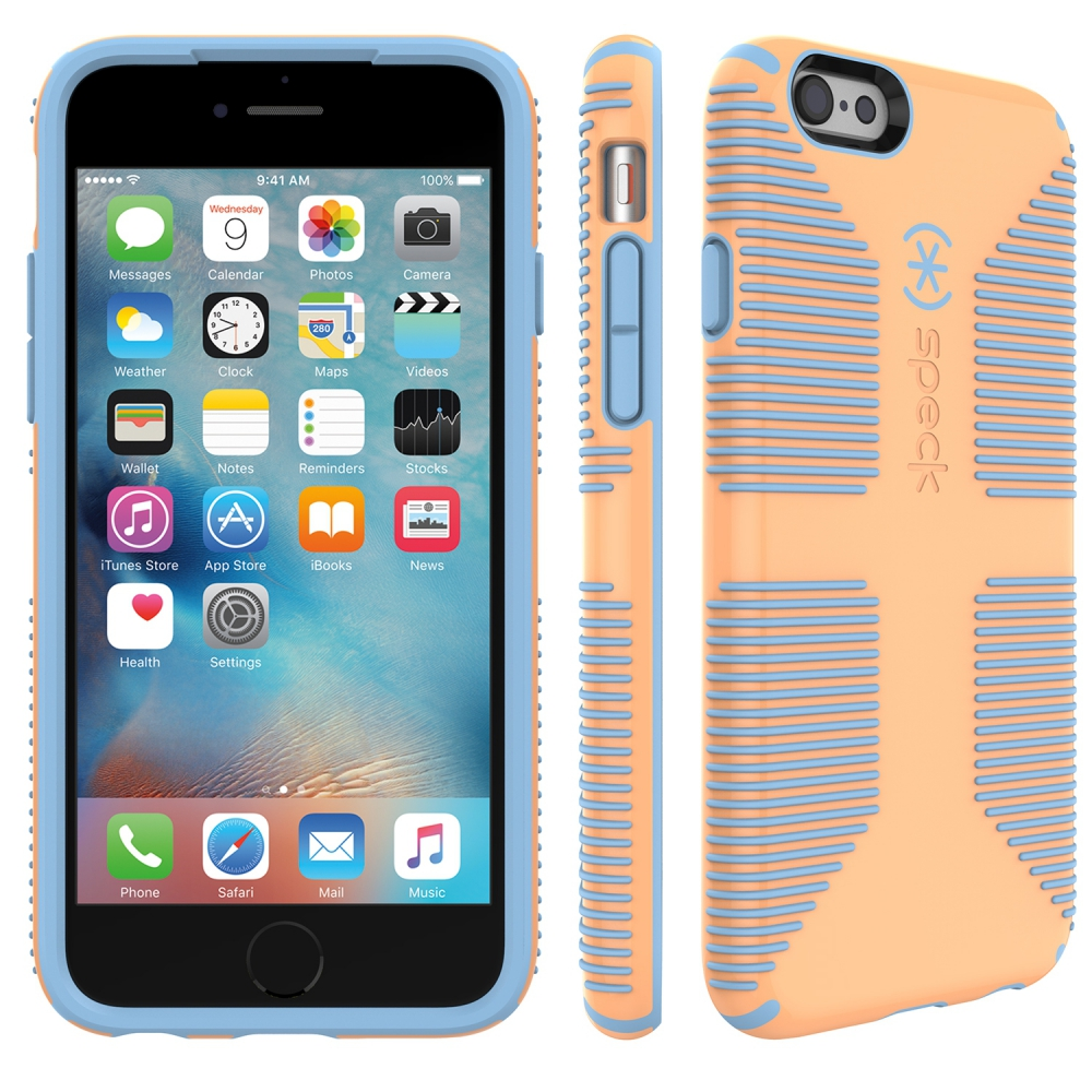 Carcasa iPhone 6, 6S CandyShell GRIP Cantaloupe orange/ Periwinkle blue
