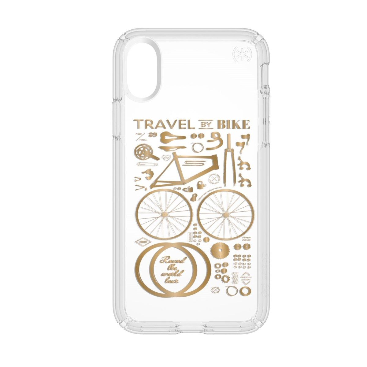Carcasa iPhone X, Xs Presidio Clear + Print - CITY BIKE METALLIC GOLD YELLOW