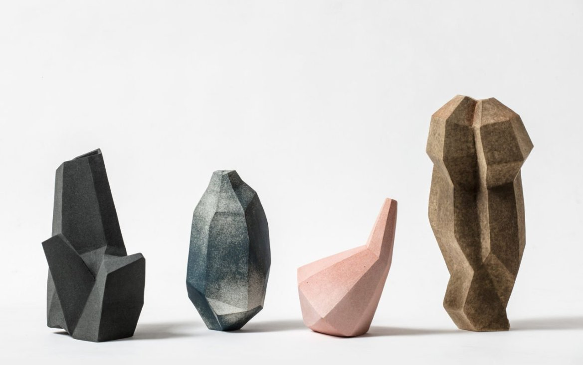 Faceted ceramic sculptures by Turi Heisselberg Pedersen