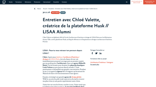 Interview with LISAA, Chloé Valette, Huskdesignblog