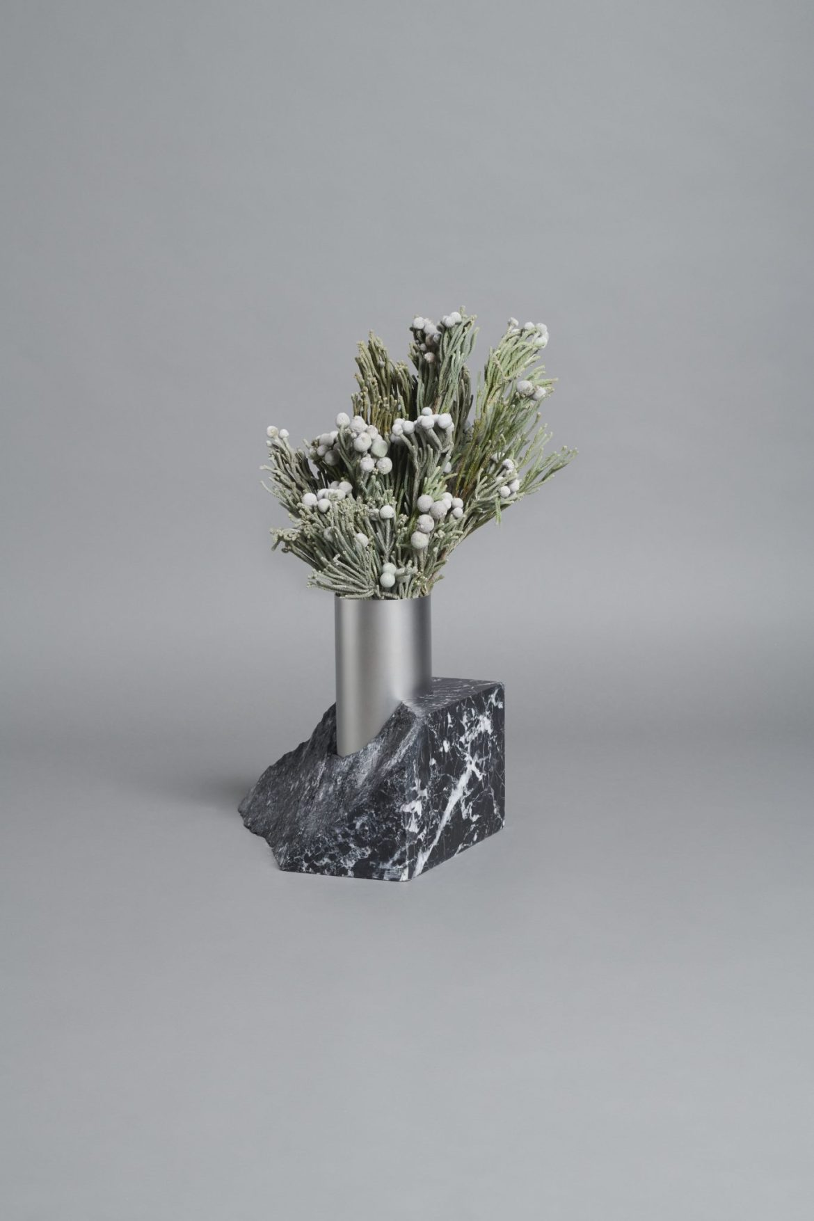Bloc Studios x Tableau, Minimal black marble and metal vase