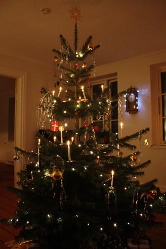 Juletræet med sin pynt venter på vi får begyndt... her stråler det så smukt med levende lys