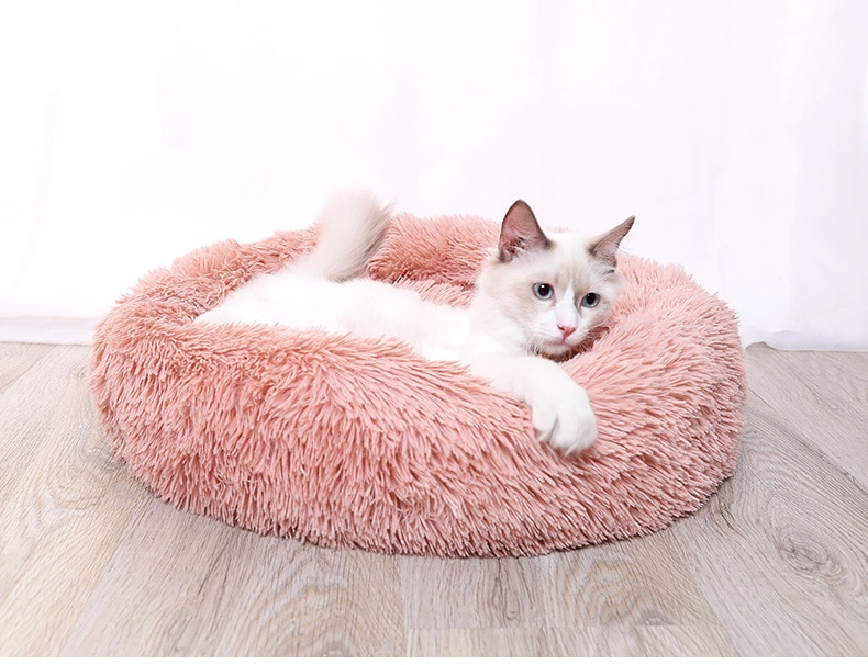 Pet's Round Shaped Fluffy Bed
