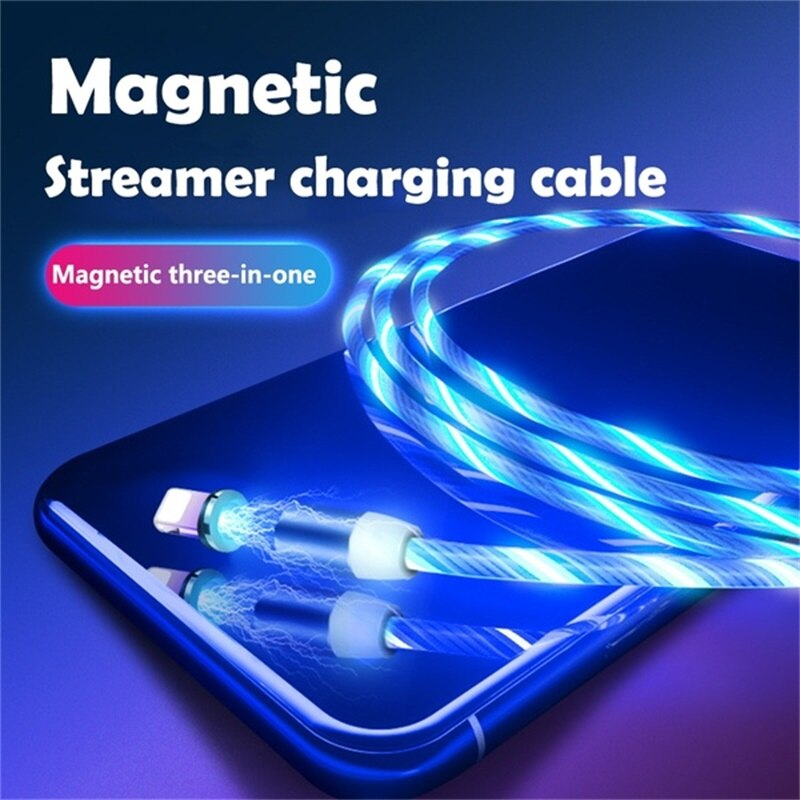 Colorful LED Light Type-C USB Cable for Samsung Fast Charging Cable for Xiaomi Redmi Note Magnetic Cable Cord Universal Cables