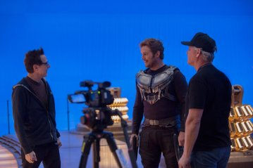 "Director James Gunn and actor Chris Pratt on set of ""Guardians of the Galaxy, Vol. 2"""