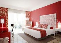 red master bedroom