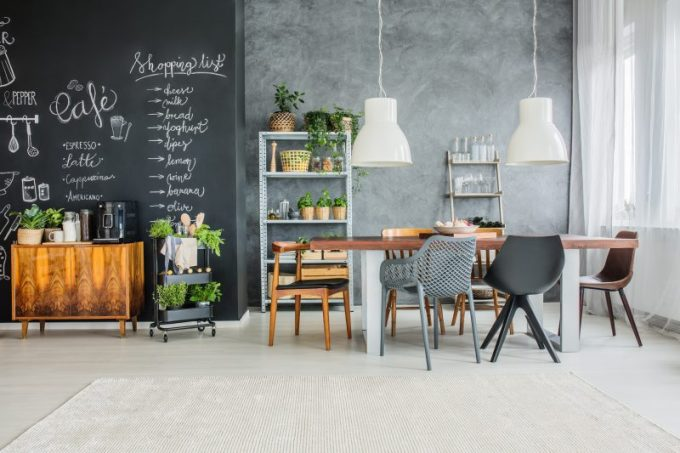 Chalkboard Wall Painted Kitchen Decorating Ideas