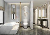 Modern Elegant Bathroom Decor Ideas with Gold Accents