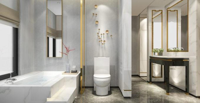 Modern Elegant Bathroom Decor Ideas with Gold Accents