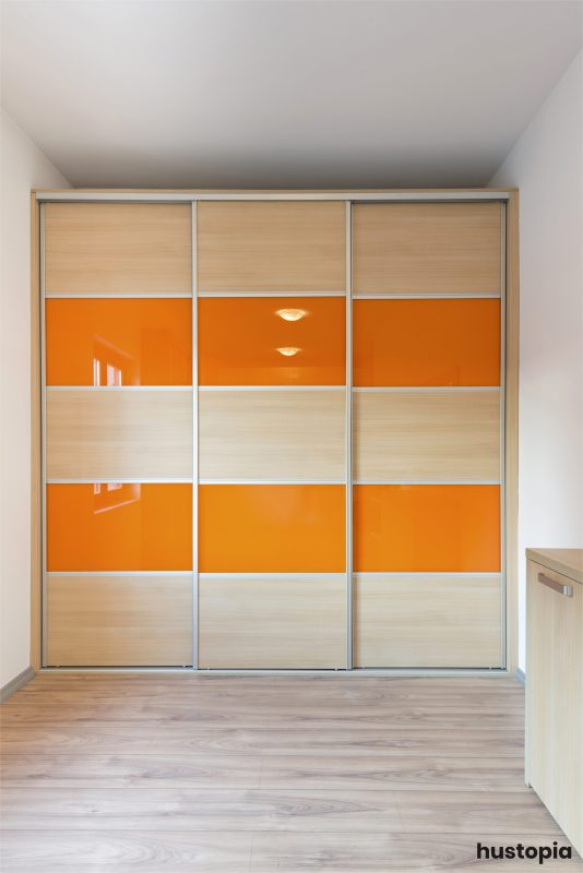 Creative white and orange closet door ideas