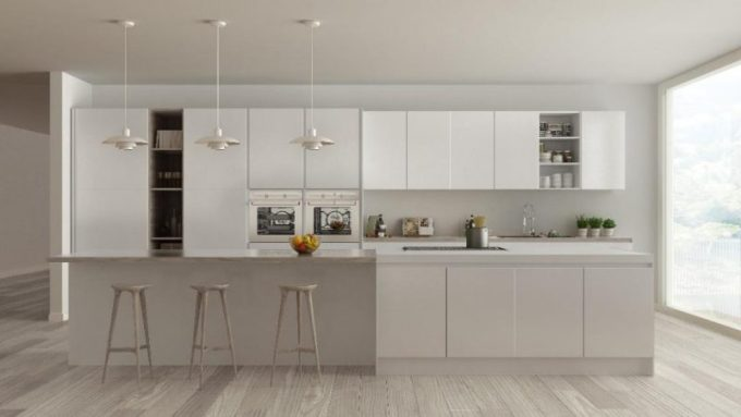 Grey-ish white kitchen