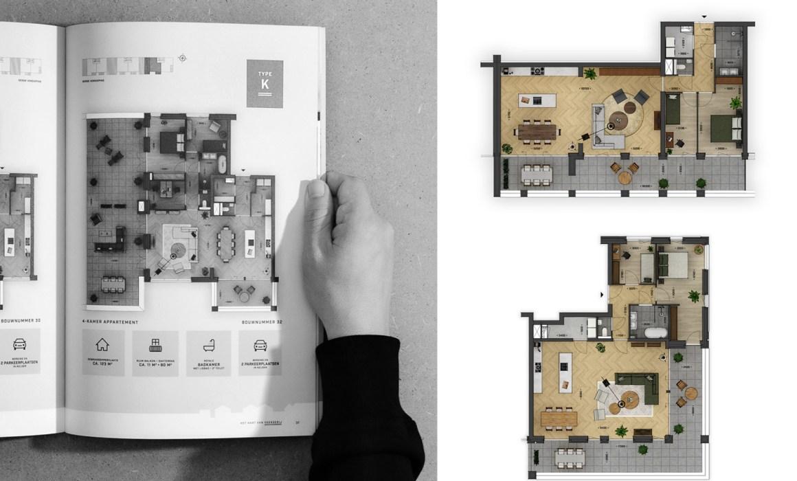 Jurriaan Huting Huting.net Nijmegen visueel ontwerp 3D visual rendering Project DOK6 Bouwbedrijf Van Ree