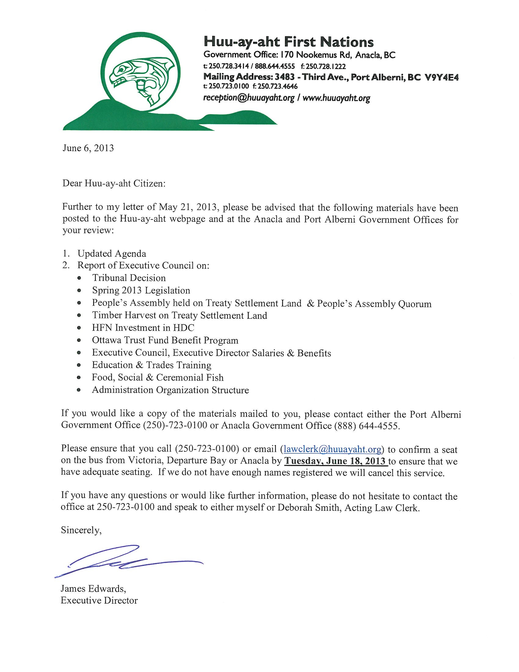 Cover Letter – People\'s Assembly 2013 – Huu-ay-aht