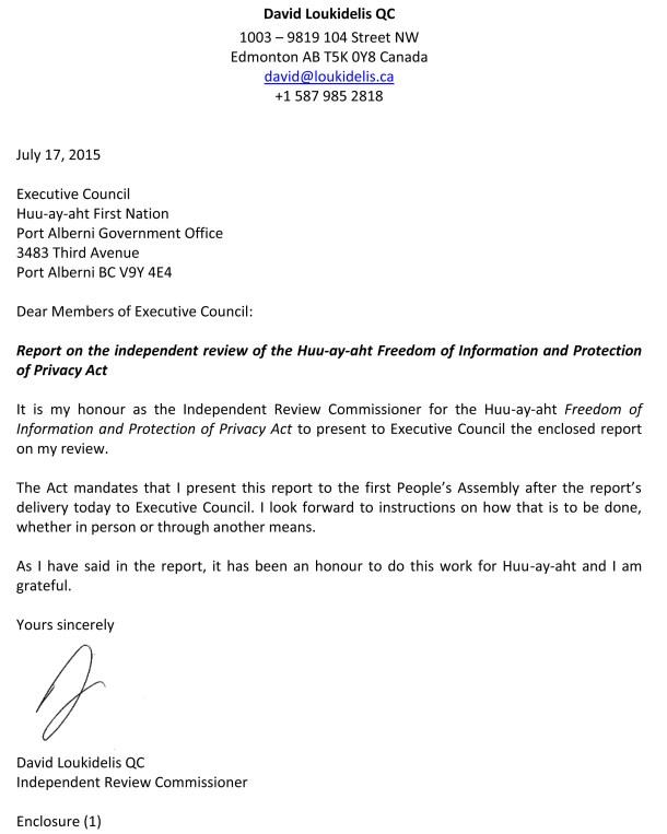 Letter to Huu-ay-aht Executive Council (17 Jul 15)
