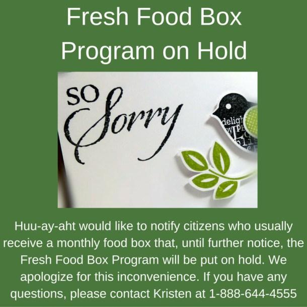 Fresh Food Box Program on Hold