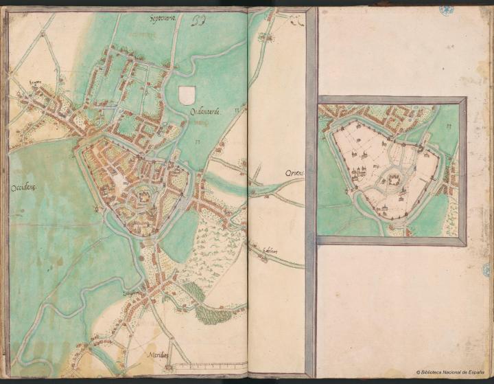 Netkaart en bijkaartje van Oudenaarde - Jacob van Deventer (1564)