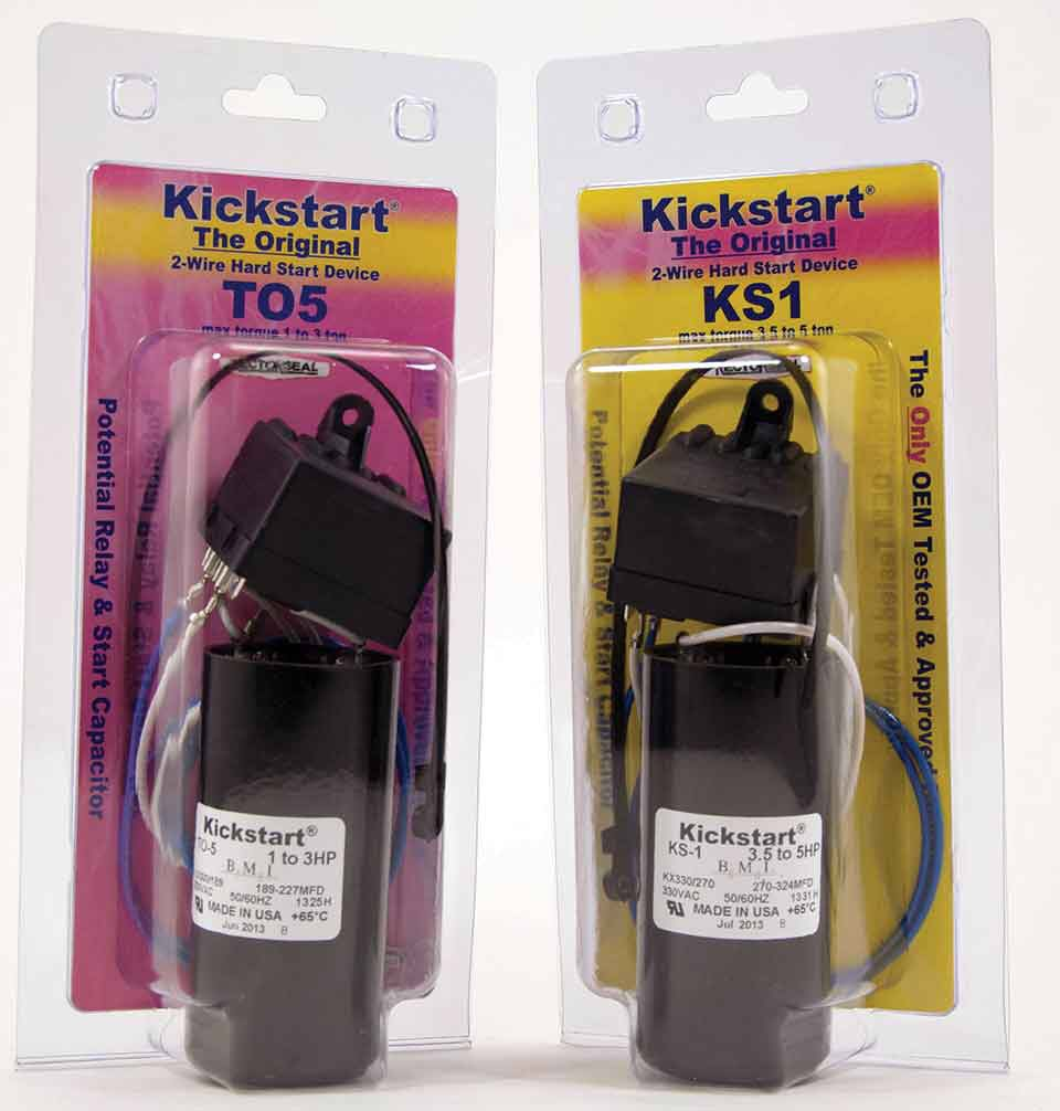 Then there are the more traditional hard start kits that use the tried and  true start capacitor and potential relay instead of a PTCR.