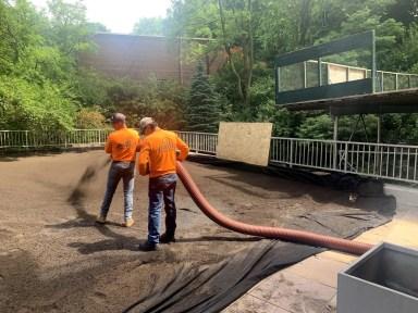 Blower trucks conveyed extensive green roof soil blend