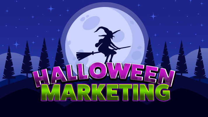 halloween marketing; witch flying full moon spooky tree