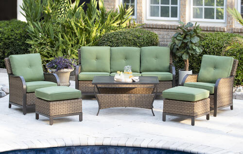 rozier green 6 piece seating patio set