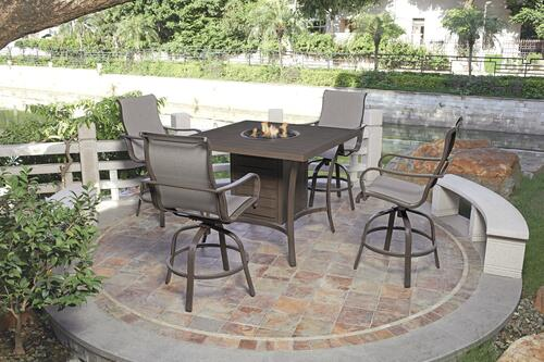 5 piece high dining fire pit patio set
