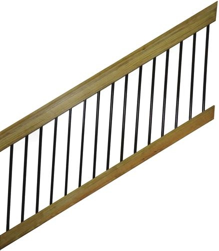 6 Treated Wood Aluminum Spindle Stair Railing Section At Menards® | Wooden Handrails For Outdoor Steps | Wall Mounted Wooden | Prefab | Lighting Outdoor | Deck | Outdoor Garden Path