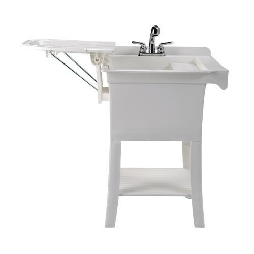 white laundry utility sink drainboard