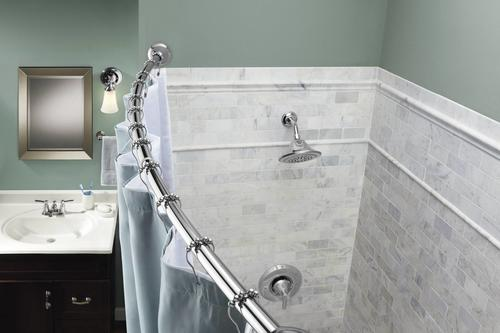 60 tension mount curved shower curtain