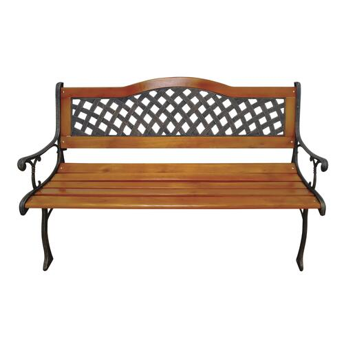 wood and cast iron patio bench at