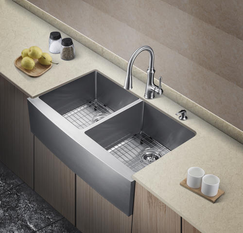 tuscany farmhouse apron front 36 stainless steel double on farmhouse sink lowest price id=36425