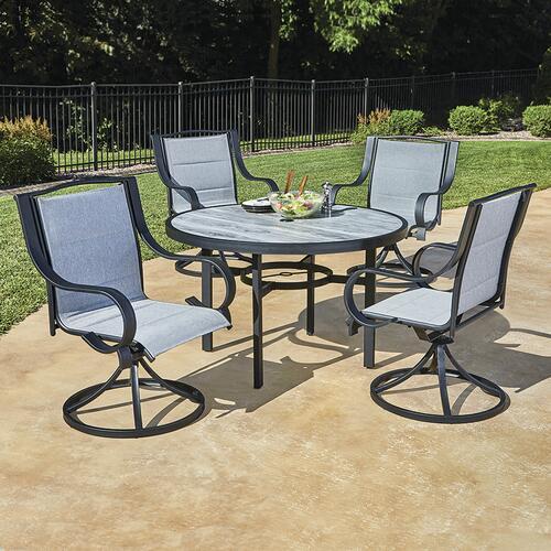 denali gray 5 piece dining patio set at