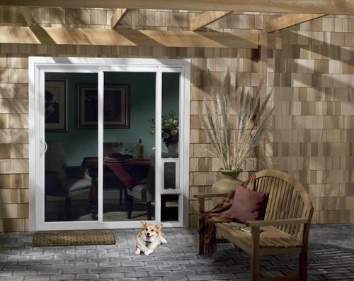 vinyl sliding patio door with pet door
